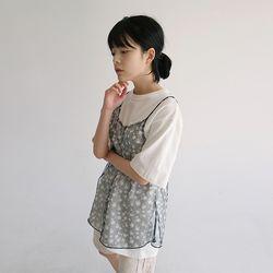 see-through flower sleeveless (2colors)