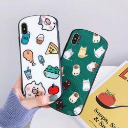 피그 캣 패턴 디자인 TPU 강화유리 아이폰 케이스