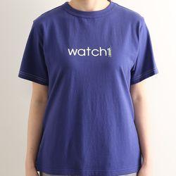 노던트럭: 레터링 프린트와 자수 심플 티셔츠 (네이비)