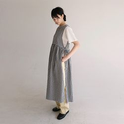 vintage floral check dress (2colors)