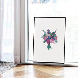 꽃다발 메탈 액자. 포스터 액자 (A2사이즈)