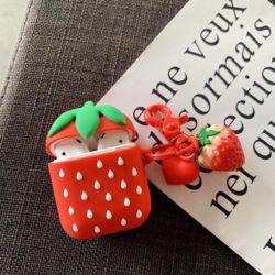 에어팟 딸기 디자인 실리콘 케이스 분실방지 키링세트