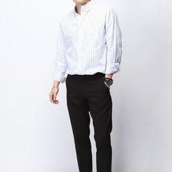 [매트블랙] 내츄럴 코튼 스트라이프 셔츠