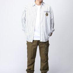 [매트블랙] 프린스 자수 스트라이프 셔츠
