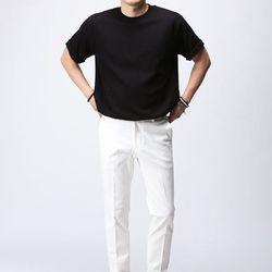 [매트블랙] 볼륨 롤업 반팔 티셔츠