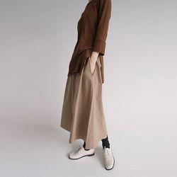 banding long cotton skirts (beige)