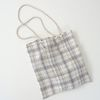 linen check string bag