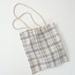 linen check string bag