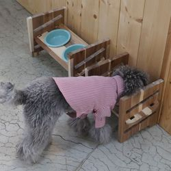 3단높이조절 애견식기 아카시아원목 고양이 강아지 도자기