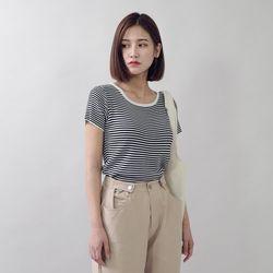 [로코식스] 배색 라운드 스트라이프 티셔츠