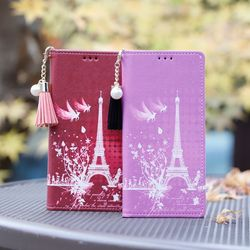 LG X4 (LG X410) Ventosa-Eiffel-T 지갑 다이어리 케이스