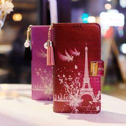 LG X4 (LG X410) Encanto-Eiffel-T 지퍼 지갑 다이어리 케이스