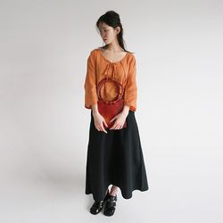cotton wide long skirts (2colors)