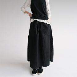cotton wide long skirts (black)