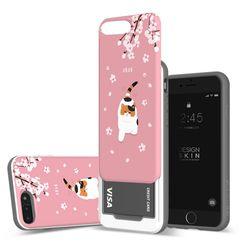 아이폰876플러스 슬라이더 냥냥이 벚꽃 카드케이스 핑크