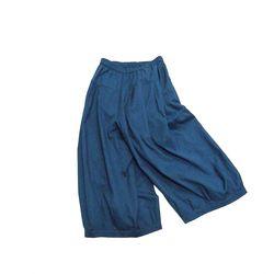 클라우드나인 : 얇은 린넨 코튼 와이드 벌룬 팬츠 (블루)