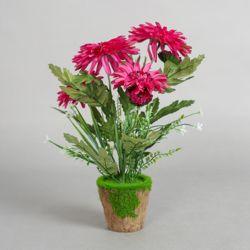 작은정원 국화꽃 조화화분(핑크)