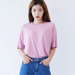 베이직 스판 라운드 티셔츠 핑크