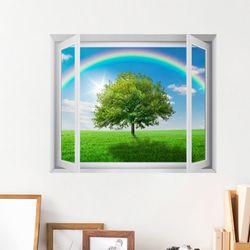 cv391-푸른하늘무지개풍경모음창문그림액자(중형)