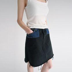 denim pocket detail mini skirts