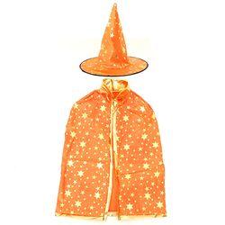 할로윈 별무늬망토 모자세트 오렌지