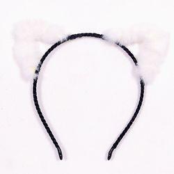 보송이 고양이머리띠 아웃라인 화이트