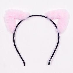 보송이 고양이머리띠 아웃라인 핑크