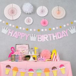 왕관 생일 레터가랜드 핑크