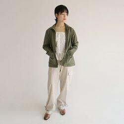 pocket detail basic shirts (khaki)