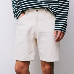 Cotton Twill Shorts Ivory