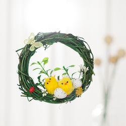 봄 풍경 병아리 리스(10cm-그린)