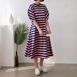 Cotton Stripe Puff Dress