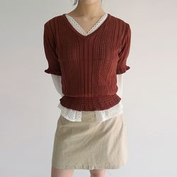 v-neck slim golgi knit (4colors)