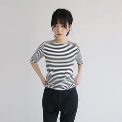 basic stripe fit tee (4colors)