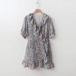 Flower Frill Wrap Dress