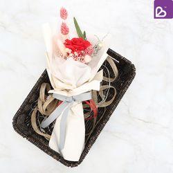 체리비 프리저브드플라워 한송이 꽃다발 레드로즈