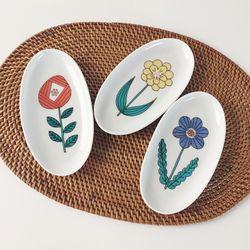 한송이 꽃 타원 접시 (3컬러)