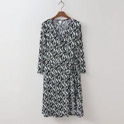 Peacock Wrap Midi Dress - 긴팔