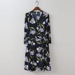Anemone Wrap Midi Dress - 긴팔