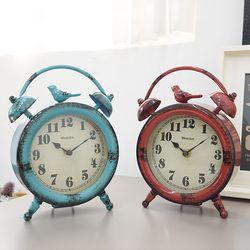 빈티지 버드 원형 탁상시계 (2color)