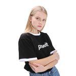 포윗 라인 배색 티셔츠(검정)