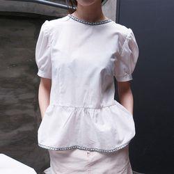 vintage neckline detail blouse (2colors)