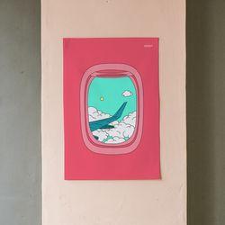비행기 일러스트 패브릭 포스터.가리개커튼 (M 사이즈)