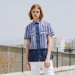 빅 플라켓 패턴 믹스 셔츠