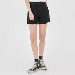 black cutting half denim pants (s m l)