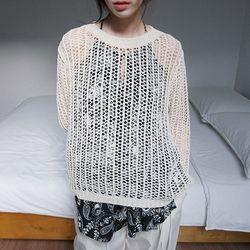 mesh net over knit (3colors)
