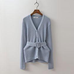 Linen Belt Knit Cardigan