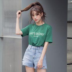 [로코식스] 세러데이 레터링 티셔츠