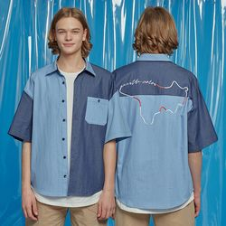 IDEAL MAP DENIM MIX SHIRTS