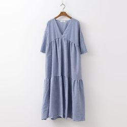 Gingham Cancan V-Neck Long Dress